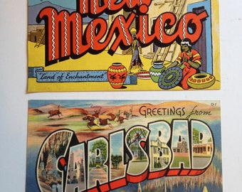 Vintage Linen Postcards from New Mexico, Pair of Souvenir Postcards, Carlsbad Caverns, Mid Century Postcards, Land of Enchantment