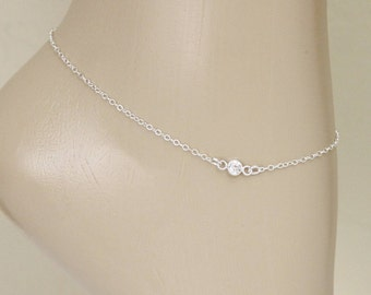 Tiny CZ Anklet, Sterling Silver, Wedding Jewelry, Ankle Jewelry, Silver CZ Anklet, Birthstone Anklet, Ankle Bracelet, Silver Anklet, For Her