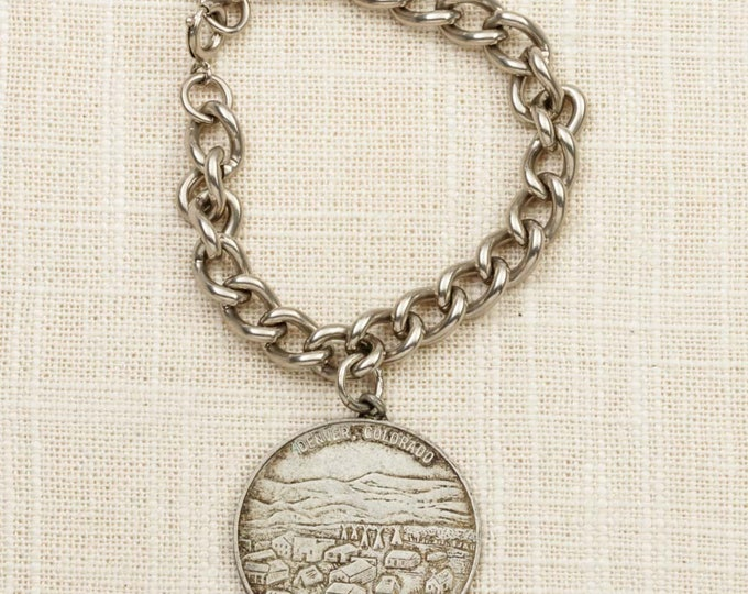 Vintage Bracelet Silver Denver Colorado Charm 1859 to 1959 Rush to the Rockies Centennial Coin Chain Costume Jewelry 7J