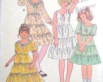 Vintage 1970s Sewing Pattern Butterick 6090 Boho Prairie Party Dress with Fitted Bodice, Teired Ruffled Skirt Girls Size 7 Chest 26 Uncut FF