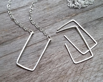 Minimalist RECTANGLE HAMMERED SET, Simple Geometric Earrings & Necklace Charm Pendant, Sterling Silver [Géométrique Argent—Rectangulo Plata]