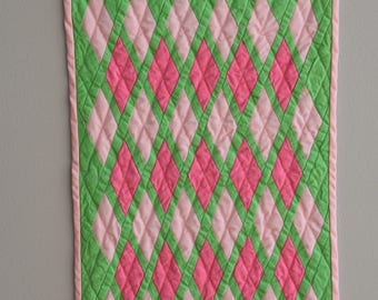 "Pink and Green Diamond 18"" Doll Coverlet"