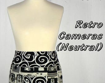 Retro Cameras in Neutral, Pocket Zipper Apron for teachers, wedding planners, photographers, made to order in 2 sizes, LOTSA POCKETS APRON