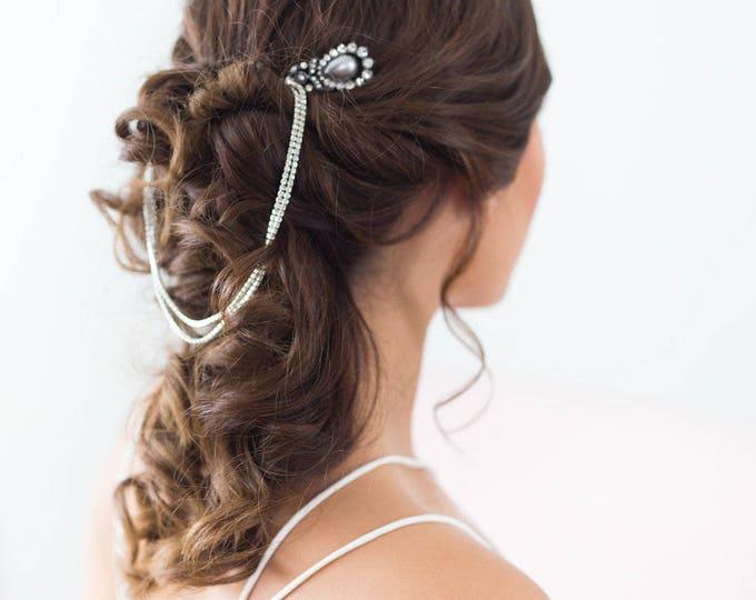 Silver bridal hair chain, Silver Forehead Piece, Crystal Headband, Wedding Draped Hair comb, wedding chain headpiece, crystal forehead chain