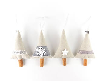 Set of 4 Silver & White Christmas Ornaments Luxury Christmas Tree Decorations Cinnamon Stick Hanging Star Wooden Snowflake Decor