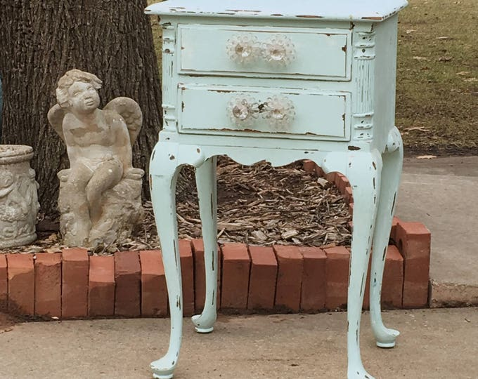 Antique Nightstand Bedside Table Painted Baby Blue  Shabby Chic French And Country Farmhouse ~ In stock ship in 7 days