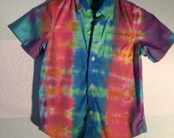 Boys XS Tie Dye Button Up Upcycle Gap Brand Shirt