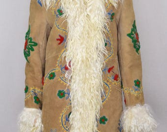 Vintage 1970's Appliquéd EmBrOiDeReD Shearling Sheepskin Afghan HiPPiE BoHo ALmoSt FaMouS Penny Lane Long Coat Size M