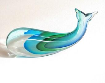 Vintage Murano Glass Whale Sculpture, Italian Art Glass Sculpture, Whale Sculpture, Modern Art Glass Sculpture, Modernist Fine Art Sculpture
