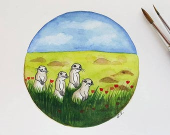 Original Watercolor painting Cute Ground Squirrels animal illustration art funny nature prairie meadows woodland wildlife
