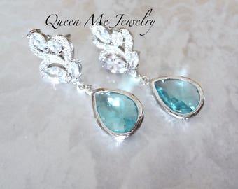 Aquamarine earrings,Cubic Zirconia earrings,Blue Czech glass,Brides earrings,March Birthday,Aquamarine wedding earrings,Bridesmaids earrings