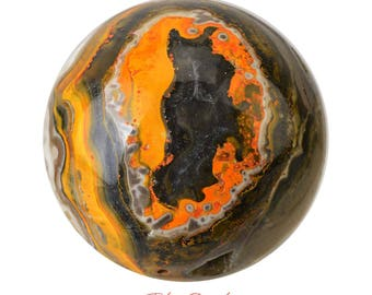 Gorgeous 59 mm BUMBLEBEE Jasper Sphere + Stand Yellow Orange Black Indonesia Healing Crystals and Stones Polished Eclipse #BJ13