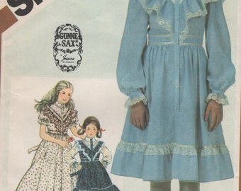Girls Vintage Gunne Sax Dress Two Lengths Ruffled with Lacey Trim Size 12 Uncut Sewing Pattern 1980s