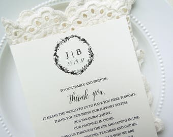 Reception Thank You Card |  Instant Download PDF - Printable Thank You  |  Wedding Thank You Card  |  CLASSIC Collection Style 02