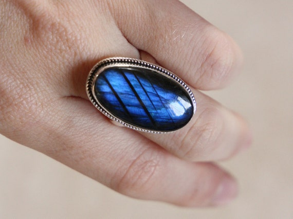 BLUE LABRADORITE RING - One size - Sterling silver ring - Crystal ring - Chakra - Semi precious - Antique Style - Statement Ring - Unique