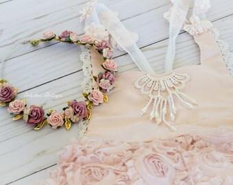 Dusty Rose Pink Blush Gold Floral Halo First Birthday Crown - WDW Boho Headband Newborn Photo Prop Shabby Chic