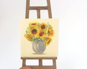Sunflower Vase Painting Still Life Original Art Flower Painting Miniature Dolls House Art Picture Dollhouse