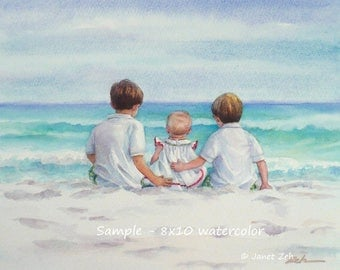 Custom children watercolor painting of child from photo, Unique gift for parents grandparents, Commission artwork by Janet Zeh Original Art