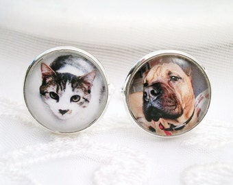 Photo Cuff links Groom Gift for Dad Father of the Bride Gift Father of the Groom Gift for Best Man Pet Photo Cufflinks Dog Memory Jewelry