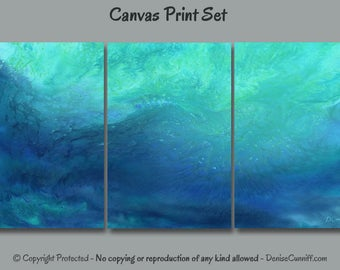 Large wall art, Abstract painting canvas print set, 3 piece multi panel, Teal blue aqua turquoise home decor, Office, Bedroom Dining room