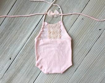 Pink Lacel Newborn Romper Photo Prop SET with Stretch Headband- Newborn Baby Girl - Ready to Ship