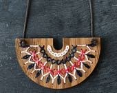 DIY Embroidery Kit, Hand Stitched Wood Necklace, Modern Embroidery Pattern, Embroidered Jewelry Kit - SMOCKED Collection Charcoal and Red