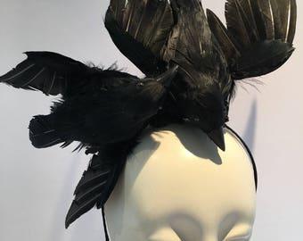 Black Fascinator- Bird headpiece -The Birds- Steampunk- Halloween -Bird Costume - BlackHeadpiece -The Ravens- Black Bird-Goth Headband -Crow