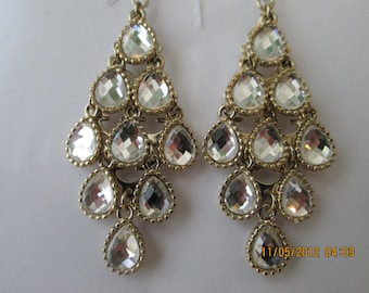Reduced Gold Tone and Clear Crystal Beads Layered Dangle Earrings