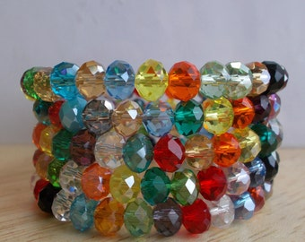 5 Row Memory Wire Cuff Bracelet made with Multi Color Crystal Beads