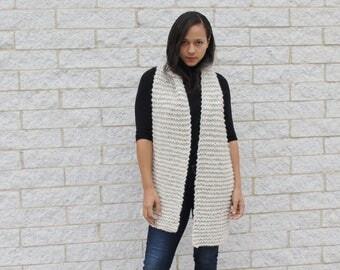 Cream knit Scarf, Chunky Knit wool Scarf- The Seoul scarf- Korean fashion,  wrap scarf,  Gift idea