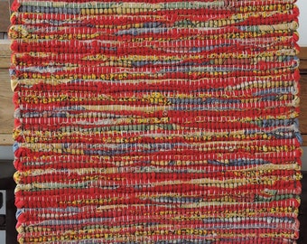 "Hand Woven Red Yellow Denim Table Runner - 15"" x 26"""