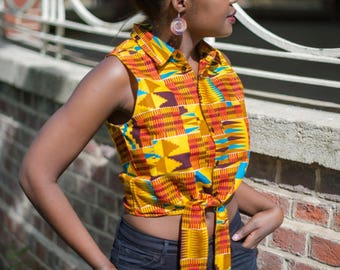 NEW! RUDO Sleeveless Tie Front Summer Top in Yellow/Orange Kente, African Print Top, Shirt, African Clothing by Afrocentric805