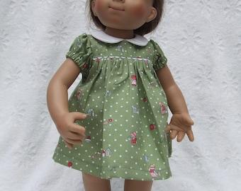 Short Sleeved Polka Dots and Children print Dress or Romper for Sasha Girl, Toddler, Baby or Muller Wichtel 30/32cm Doll - Choice of colour