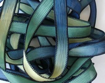 """1PC. BELOW SEA LEVEL 42"""" hand dyed wrap bracelet silk ribbon//Yoga wrist wrap bracelet ribbon//Hand dyed Boho Silk wrist wrap ribbon"""