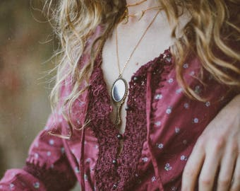 Locket Necklace - Layered Gold Jewelry, Moon Layered Necklace