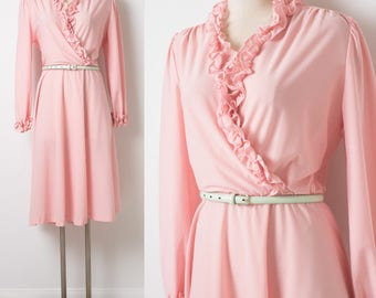 Vintage 70s Dress, Vintage Pink Dress, Vintage Secretary Dress, Vintage Ruffle Dress, Vintage wrap Dress, Pink Secretary Dress - M/L