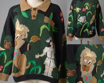 Vintage Sweater, ugly sweater, Green Sweater, lion, animal sweater, Vintage green sweater, Handknitt sweater, plus size sweater - xl/1xl