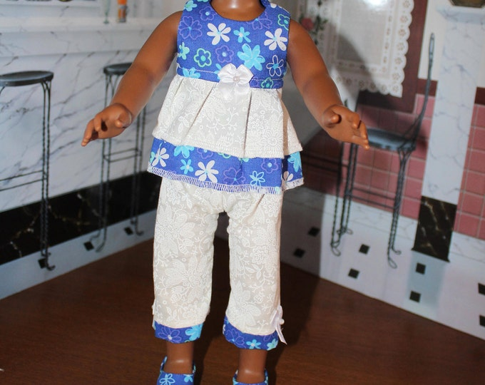 Blue Flowers Top White Pants with Bows and Shoes. Handmade to fit the Wellie Wisher Dolls and 14 5 inch Dolls, FREE SHIPPING