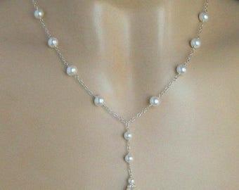 Pearl Necklace, Pearl Bridal Necklace, Wedding Pearl Necklace in White or Ivory, Y Drop Necklace, Bridal Wedding Necklace, Teardrop Pearl