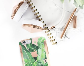 Banana Leaf and Rose Gold Hard Case Otterbox Symmetry iPhone 6 / iPhone 7 / Galaxy S7 , Galaxy S8 , Galaxy S8 Plus - Platinum Edition