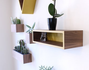 "Floating Shelf | Walnut + Colored Laminate | 3 sizes available 16""L--24""L--36""L x 6""D x 4""H | Hardware included | Wall Shelf | Storage Shelf"