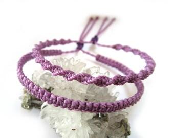 X2 Lilac/Lila/Lavender Friendship Bracelet/Spiral & Flat Wristband Handmade/Braided with Wax Cord Macrame Knots.Sliding knot. Réf.PP+PS69.