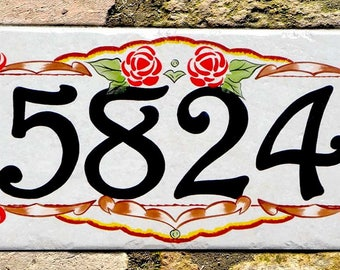 Italian rose, House number plaques, hand painted Italian house numbers, ceramic house numbers, house numbers, floral house number plaque.