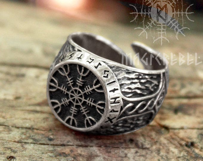 Silver Helm of Awe Aegishjalmur Futhark Viking Magic Stave Runic Amulet Adjustable Size Ring