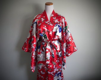 Vintage Red Asian Kimono Robe Long Satin Dressing Gown Geisha Geigi Print Japanese Cherry Blossom Star Silk Unisex Men's Women's One Size