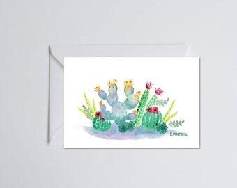 Cactus Shadows Card - Blank Greeting Card - single folded card