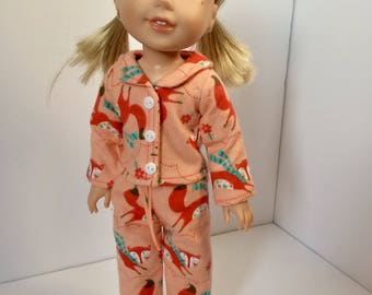 Doll pajamas. Wellie wisher doll pajamas. Fox pajamas. 14 inch doll pj's. S.O. Designs