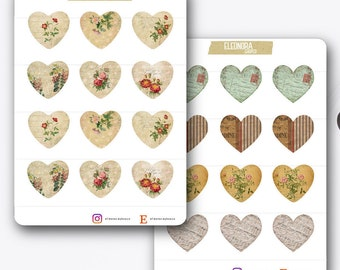 Retro Vintage Tickets Stickers Hearts | T017