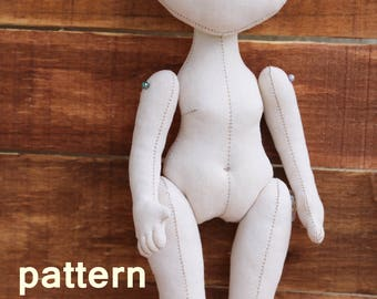 PDF Doll (10.6in),Soft Doll PATTERN  Cloth Doll Pattern, Digital Download pattern. instant download