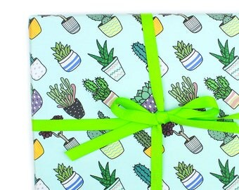Potted Plant Wrapping Paper, Succulent Gift Wrap, Little Cactus Wrapping Paper, Cacti Pattern, Aloe, Plant Mom, Birthday Wrapping Paper